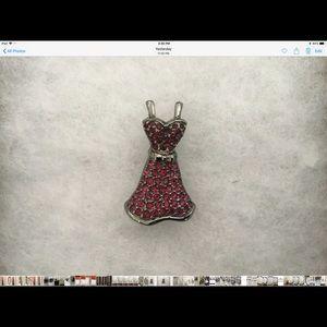 Retired. Swarovski little red dress brooch pin.